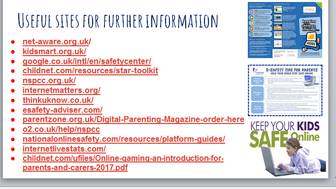 Useful sites for further information from Chromebook Presentation